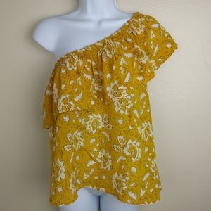 Madewell Silk One Should Mustard Yellow Top Size S
